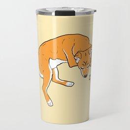 Sleeping Shiba with Plush Travel Mug