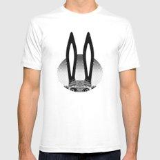 Peekaboo Rabbit Mens Fitted Tee MEDIUM White