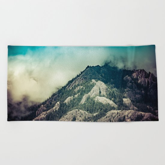 Cloudy Mountain Ridge Beach Towel