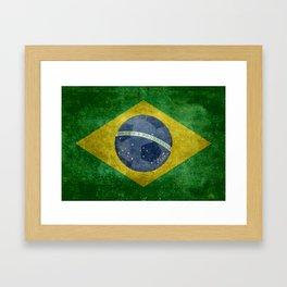 Vintage Brazilian flag with football (soccer ball) Framed Art Print