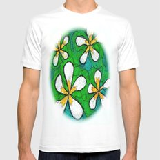 PLUMERIA MEDIUM White Mens Fitted Tee