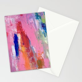 Lucky #13, a contemporary abstract in pinks and fuchsias Stationery Cards