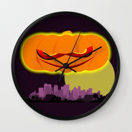 Evil Pumpkin Over The City Wall Clock