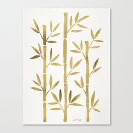 Bamboo Stems – Gold Palette Canvas Print