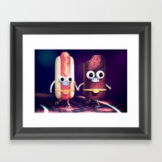 Hot Dog & Ice Cream Roller Disco Framed Art Print