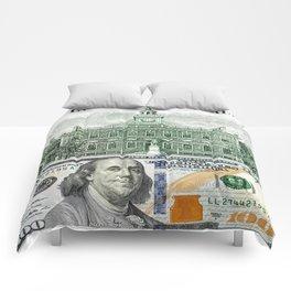 cash money old Ben 100 bucks dollars  us currency  in God we Trust Comforters