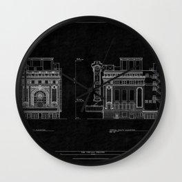 Chicago Theatre Blueprint 4 Wall Clock