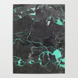 Grey and Blue Marble Poster