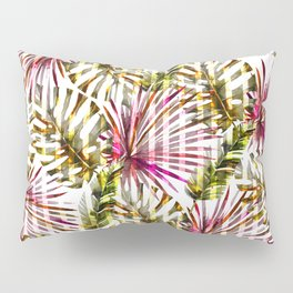 Tropical pink purple sunshine yellow palm tree stripes Pillow Sham