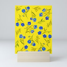 YELLOW & BLUE FLORAL Mini Art Print