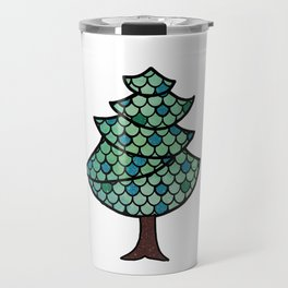 Mermaid Scales Christmas Tree Design With Glitter Accents Background Travel Mug