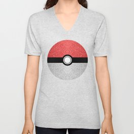 Sparkly red and silver sparkles poke ball Unisex V-Neck