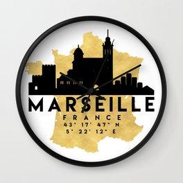 MARSEILLE FRANCE SILHOUETTE SKYLINE MAP ART Wall Clock