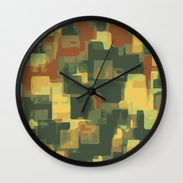 green and brown square painting abstract background Wall Clock