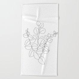 Minimalistic Eucalyptus  Line Art Beach Towel