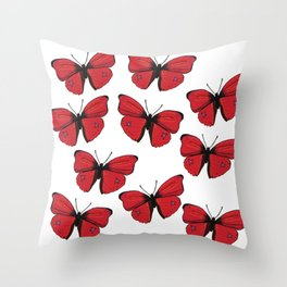 Red butterfly Spring Art Throw Pillow
