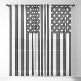 Black And White Stars And Stripes Sheer Curtain