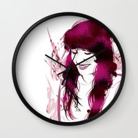 amy hamilton Wall Clocks featuring Amy by Abbi Laura