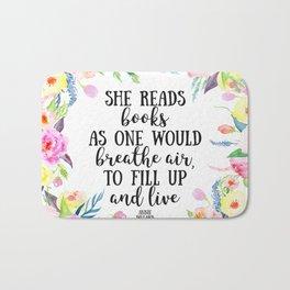 She reads books Bath Mat