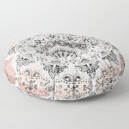 Dreamer Mandala White On Rose Gold Floor Pillow