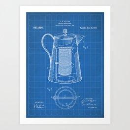 Coffee Percolator Patent - Coffee Shop Art - Blueprint Art Print