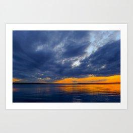 Twilight sky in dark blue clouds Art Print