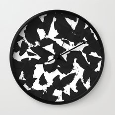 Black Bird Wings on White Wall Clock