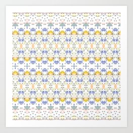 Detailed Delicate Yellow Blue Pattern Art Print