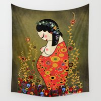 klimt Wall Tapestries featuring Kokeshi Hope of Klimt by Pendientera
