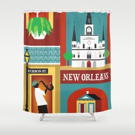 New Orleans, Louisiana - Collage Illustration by Loose Petals Shower Curtain
