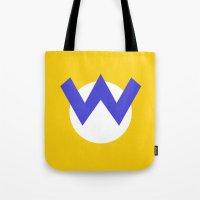 nintendo Tote Bags featuring Nintendo Wario by JAGraphic