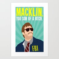 "parks and recreation Art Prints featuring Parks and Recreation ""Burt Macklin"" by DeanFred Rex"