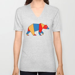 low poly bear Unisex V-Neck
