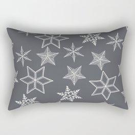 Simple Snowflakes On Grey Background Rectangular Pillow