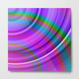 Fluttering curved semicircles with a crisp fuchsia accent and all the colors of the rainbow. Metal Print