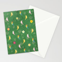 Tiki Birds - Green Pattern Stationery Cards
