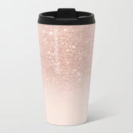 Rose gold faux glitter pink ombre color block Metal Travel Mug