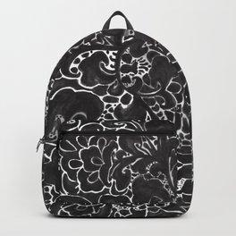 Watercolor Chinoiserie Block Floral Print in Black Ink Porcelain Tiles Backpack