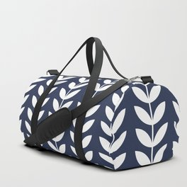 Navy Blue and White Scandinavian leaves pattern Duffle Bag