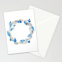 Blue and Gray Watercolor Leaf Wreath Stationery Cards