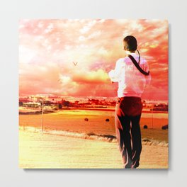 The Lost Horizons in Red Metal Print