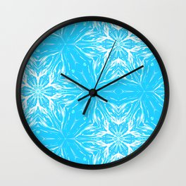 White Snowflakes stars ornament on Blue Wall Clock