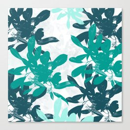 Tropical Turquoise Leaves Canvas Print