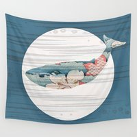 polka Wall Tapestries featuring Whales and Polka Dots by Paula Belle Flores