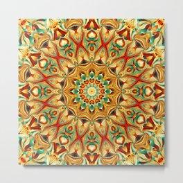 Flower Of Life Mandala (Tangerine) Metal Print