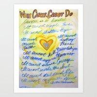 Blue and Gold Cancer Poem Art Print