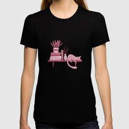 Cat, books and plants III T-shirt
