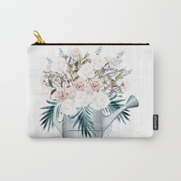 Garden watering can with white roses and palm leaves fashion vector illustration in vintage watercolor style Carry-All Pouch