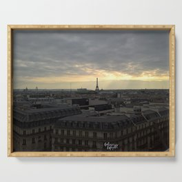 Eiffel Tower in the sunset Serving Tray