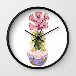 Papercraft Cactus in Pink Wall Clock